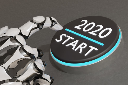 3d rendering ai artificial intelligence hand try to push start 2020 button