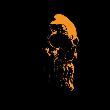 Scull portrait silhouette in contrast backlight. Vector. Illustration.
