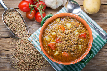 Lentil soup with tomatoes and potatoes