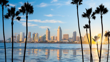In de dag Blauw Downtown San Diego skyline in California, USA