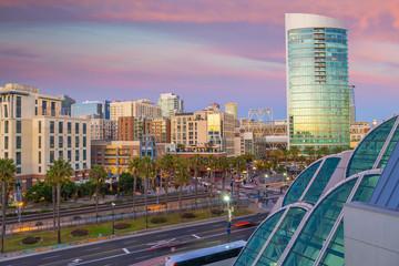 Fotomurales - Gaslamp Quarter district at twilight in San Diego, California