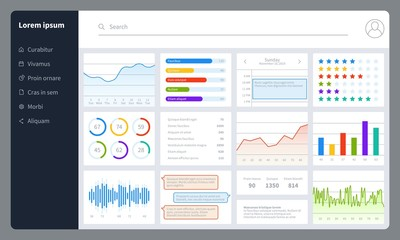 Dashboard. Progress bars, finance analytics data charts with ui. Report diagrams, graphs and interface for web application vector mockup