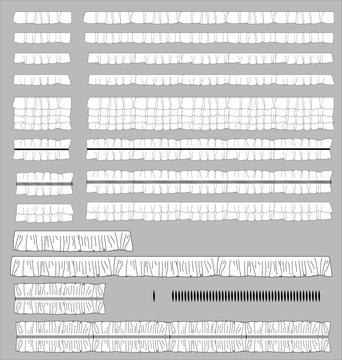 Vector illustration Ruffles Fashion Brushes set