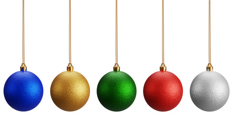 Isolated Christmas balls on white background. it has five color red, blue, silver, gold and green Christmas glitter balls for the holiday season, 3D render Wall mural