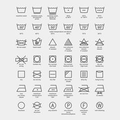 Laundry and ironing vector symbols. Machine wash flat vector icons
