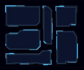 Hud frames. Futuristic modern user interface elements, hud control panel. High tech screen digital hologram window, gaming menu vector set