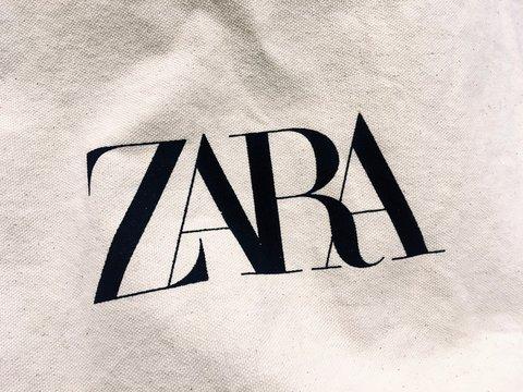 Asturias, Spain - November 2, 2019: Cloth bag of the Spanish fashion brand Zara.