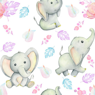 Cute baby elephants, watercolor illustration, surrounded by tropical plants and flowers, on white background, seamless pattern. For children's cards and invitations.