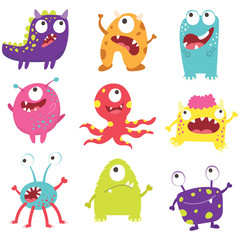 Set of cute litter monsters with different emotions - happy, smiling, surprised, angry,  anxious and foolish.