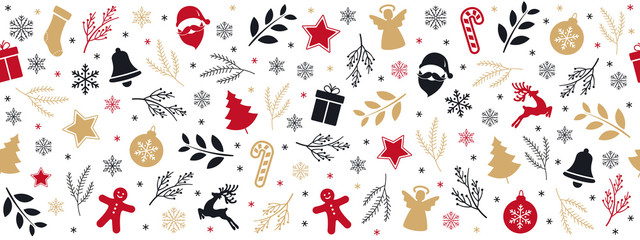 Wall Mural - Christmas icon elements golden black border pattern isolated white background.