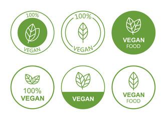 Fototapeta Set flat vegan icon on white background. Bio, Ecology, Organic logos and badges, label, tag. Vector illustration design obraz