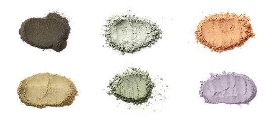 Different cosmetic clays on white background Fototapete