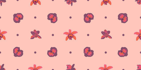 Vector seamless pattern. Pretty pattern in small flower. Pink, peach and purple orchid flowers over peach background. Ditsy floral background for fashion prints, home decor or stationery.