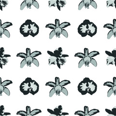 Vector seamless pattern. Pretty pattern in small flower. Black and white orchid flowers. White background. Ditsy floral background for fashion prints, home decor or stationery