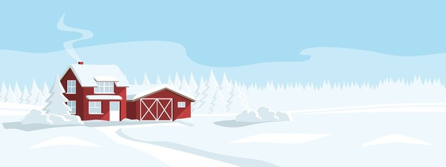 Red house in a snowy forest. Winter wonderland. Vector banner template