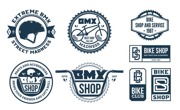 Set of vector bmx bike shop, bicycle part and service logo, badges and icons