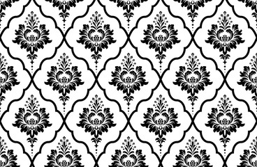 Obraz Wallpaper in the style of Baroque. Seamless vector background. White and black floral ornament. Graphic pattern for fabric, wallpaper, packaging. Ornate Damask flower ornament - fototapety do salonu