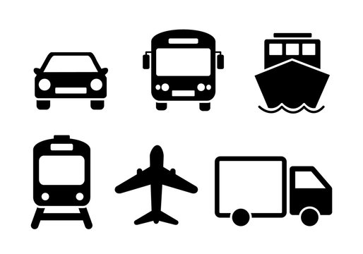 Means of transport icon set. Black solid flat travel modes web icons of car, train, ship, airplane and bus. EPS 10 vector