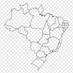 Blank map of Brazil. High quality map  Federal Republic of Brazil with provinces on transparent background for your web site design, logo, app, UI. America. EPS10.