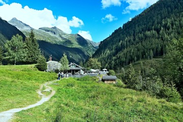 Austrian Alps-view at the chalet by the lake Riesachsee