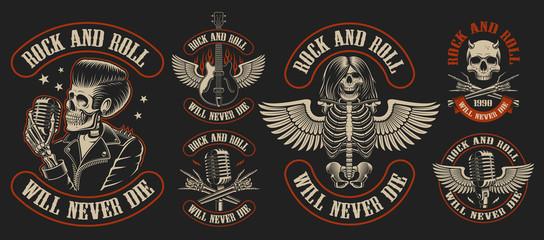 Set of vintage rock and roll emblems