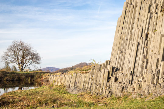 Scenic view of Panska Skala - basalt rock columns in Czech Republic in autumn