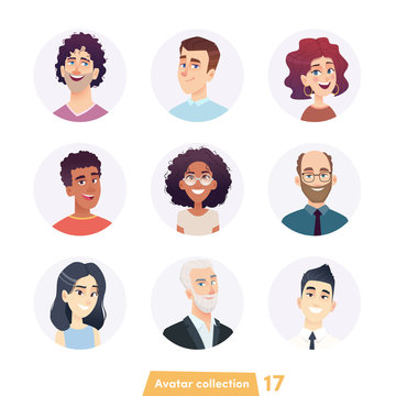 Cheerful people avatar collection. User faces. Trendy modern style. Flat Cartoon Character design.