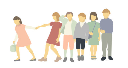 Group of Kids. Diverse set of children in casual clothes. Cute cartoon simple flat style. Illustration of a Group of School Children. Boys and girls standing in group. Teenagers standing together