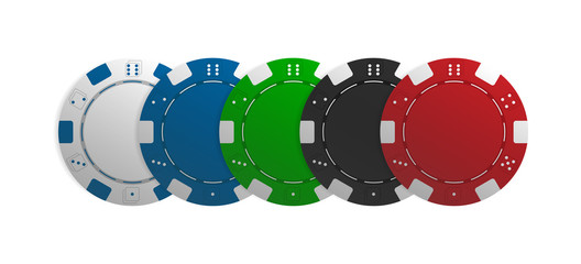 Poker chips. Vector illustartion of five realistic casino tokens isolated on white background.