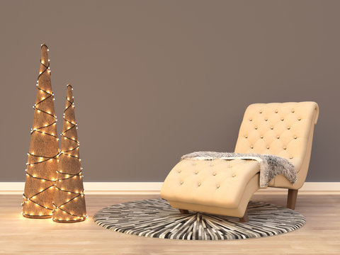 Living room interior with Christmas decorations and sofa with blanket. 3D rendering.