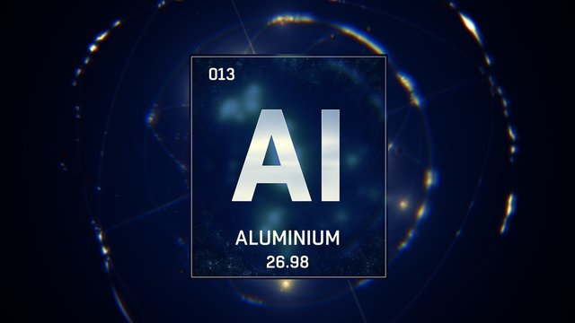 3D illustration of Aluminium as Element 13 of the Periodic Table. Blue illuminated atom design background with orbiting electrons. Design shows name, atomic weight and element number