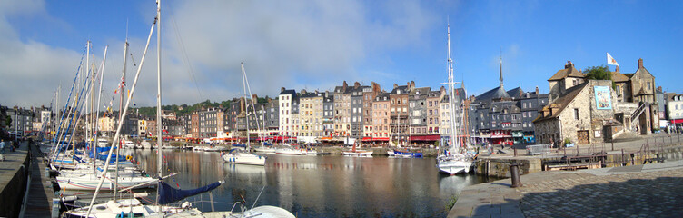 panoramic view of the port of Honfleur in Normandy - France