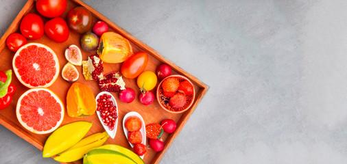 fresh red, orange, yellow fruit and vegetables rich in antioxidants, fiber, alfa carotene, lycopene, beta carotene, carotenoid, lutein, phosphorus, calcium, vitamin c.