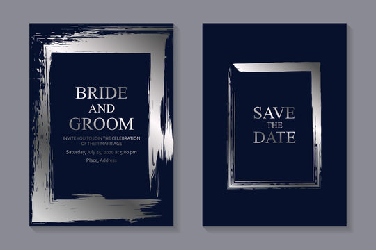 Set of modern grunge luxury wedding invitation design or card templates for business or poster or greeting with silver frames of paintbrush strokes on a navy blue background.