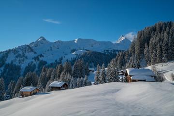 Fototapete - Winter in den Alpen