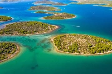 Papiers peints Cote Wonderful Croatian coastline, small Mediterranean stone islands in Murter archipelago, aerial view of turquoise bays from drone