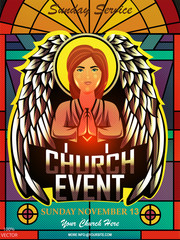 Christian invitation poster template. Religious flyer card for Church service event. Church flyer vector concept. Banner with angel and stained glass on pattern black background. EPS 10 vector.