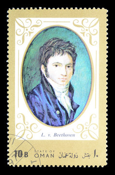Cancelled postage stamp printed by Oman, that shows Portrait of Ludwig Van Beethoven, circa 1972.