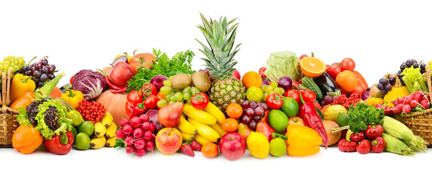 Keuken foto achterwand Verse groenten Seamless horizontal pattern colorful vegetables and fruits isolated on white
