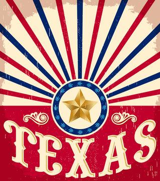 Texas Vintage poster, American flag colors, vector design.