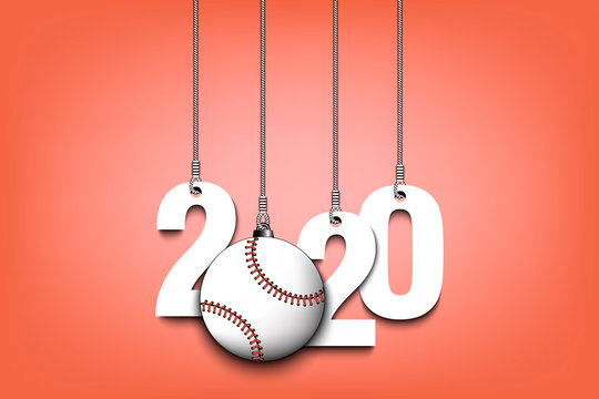 2020 New Year and baseball ball hanging on strings