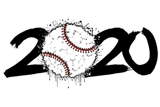 2020 New Year and a baseball ball from blots