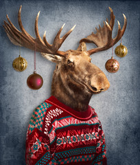 Christmas  moose. Animals in clothes. People with heads of animals .  Concept graphic, photo manipulation for cover, advertising, prints on clothing and other.
