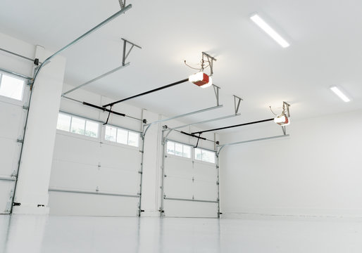 Finished large residential garage interior