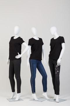 Three female mannequins
