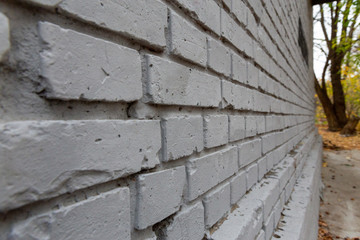 Gray brick wall. Photo background texture, close-up perspective view