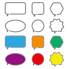 Speech bubble icons. Outline symbol for web design or mobile app.