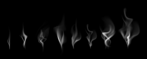 Delicate white cigarette smoke waves on balck background vector illustration. Realistik smoke set. Vector set
