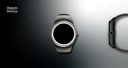 Image of smart watch, and illustration of watch capabilities, calls, location and management. Vector illustration.