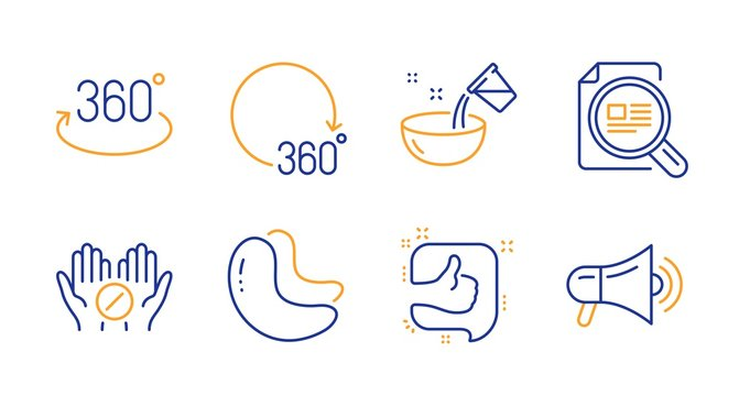 Like, Cashew nut and 360 degrees line icons set. Medical tablet, Check article and Cooking water signs. Full rotation, Megaphone symbols. Thumb up, Vegetarian food. Business set. Vector